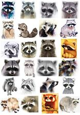 65 Mixed Raccoon Small Sticky White Paper Stickers Labels New
