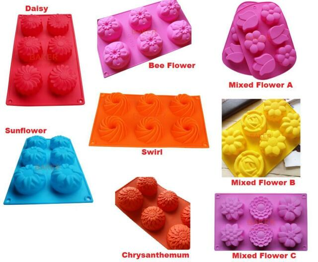 Flower Swirl Bundt Jelly Silicone Pastry Cake Mould Mold Baking Tins Pans