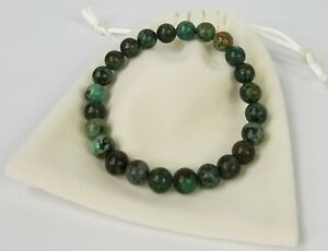 African-Turquise-Natural-Stone-Gemstone-Beaded-8mm-Stretch-Bracelet