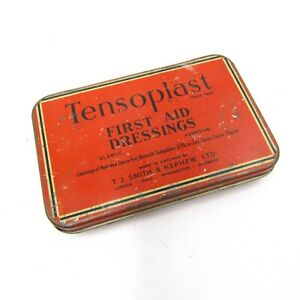 Vintage-TENSOPLAST-First-Aid-Dressing-Tin-Box-Made-By-T-J-Smith-amp-Nephew-England