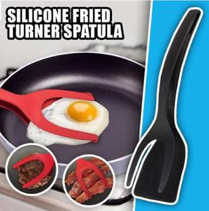 Grab Flip Fried Turner Spatula 2 In 1 Tongs Clamp Pancake Fried Egg French