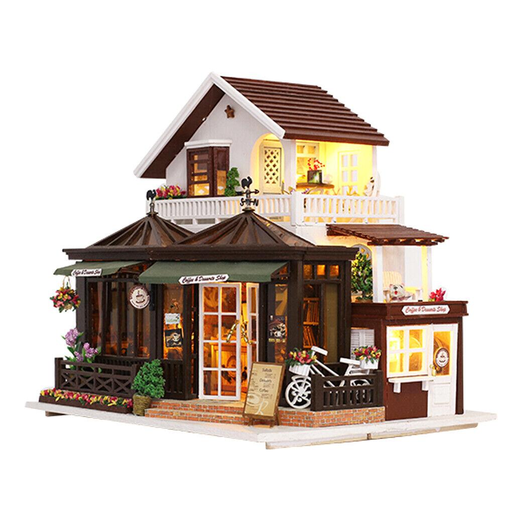 DIY Puppenhaus Kit Holz Miniatur mit Möbel LED Leuchten Kaffee Haus