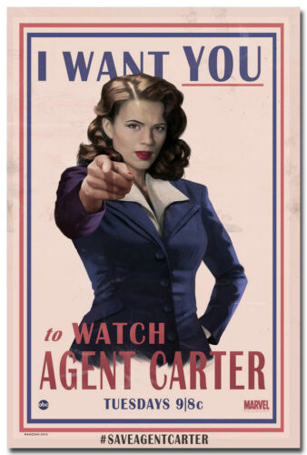 """Hayley Atwell Agent Carter TV Series Silk Poster Print 13x20 24x36/"""" I Want You"""