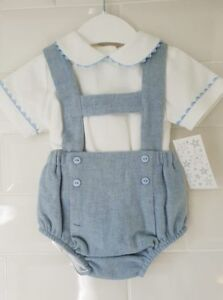 Spanish-Style-Baby-Boy-H-Bar-Jam-Pants-Dungaree-Shorts-and-Shirt-Set-Outfit
