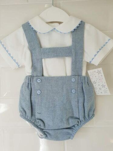 Spanish Style Baby Boy H Bar Jam Pants Dungaree Shorts and Shirt Set Outfit