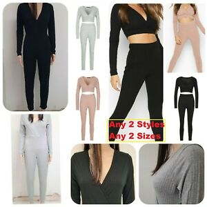 SALE 2Pc set women's Co ord Lounge one Jumpsuit crop top sie Ribbed Tracksuit uk
