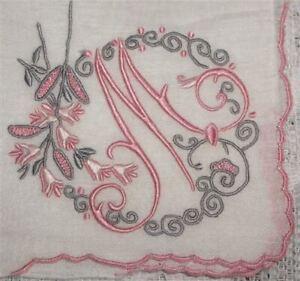 Monogrammed-Hankie-Vintage-Madeira-Linen-Letter-M-Gorgeous-Light-Pink-and-Pewter