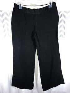 Banana-Republic-Womens-Black-Rayon-Linen-Wide-Leg-Dress-Pants-4P-4-P-Women-039-s