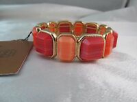 Monet Gold & Marble Coral Stretch Statement Bracelet, Square & Rectangle