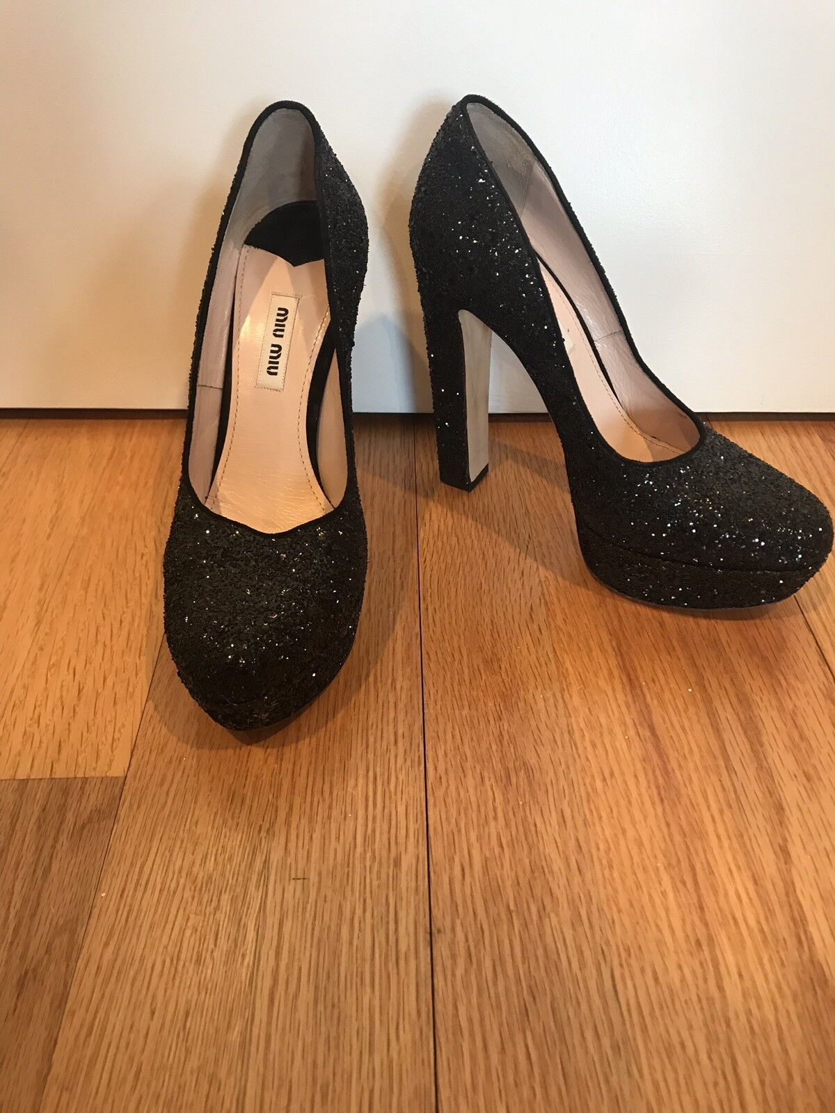 Miu Miu Black Glitter Sexy shoes 38