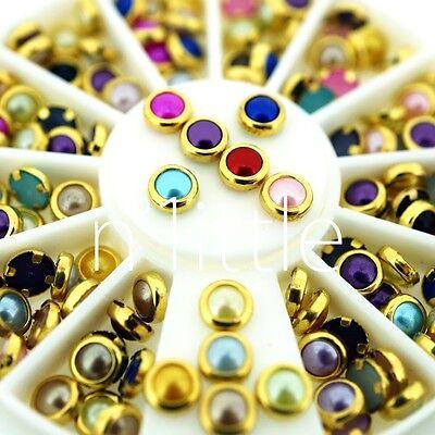 5mm Colorful Mixed Alloy Nail Art Rhinestone Pearl Decorations+Wheel #N508W