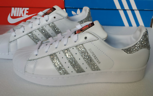 Details zu Adidas Superstar White Metallic Silver Glitter Womens Trainers S76923