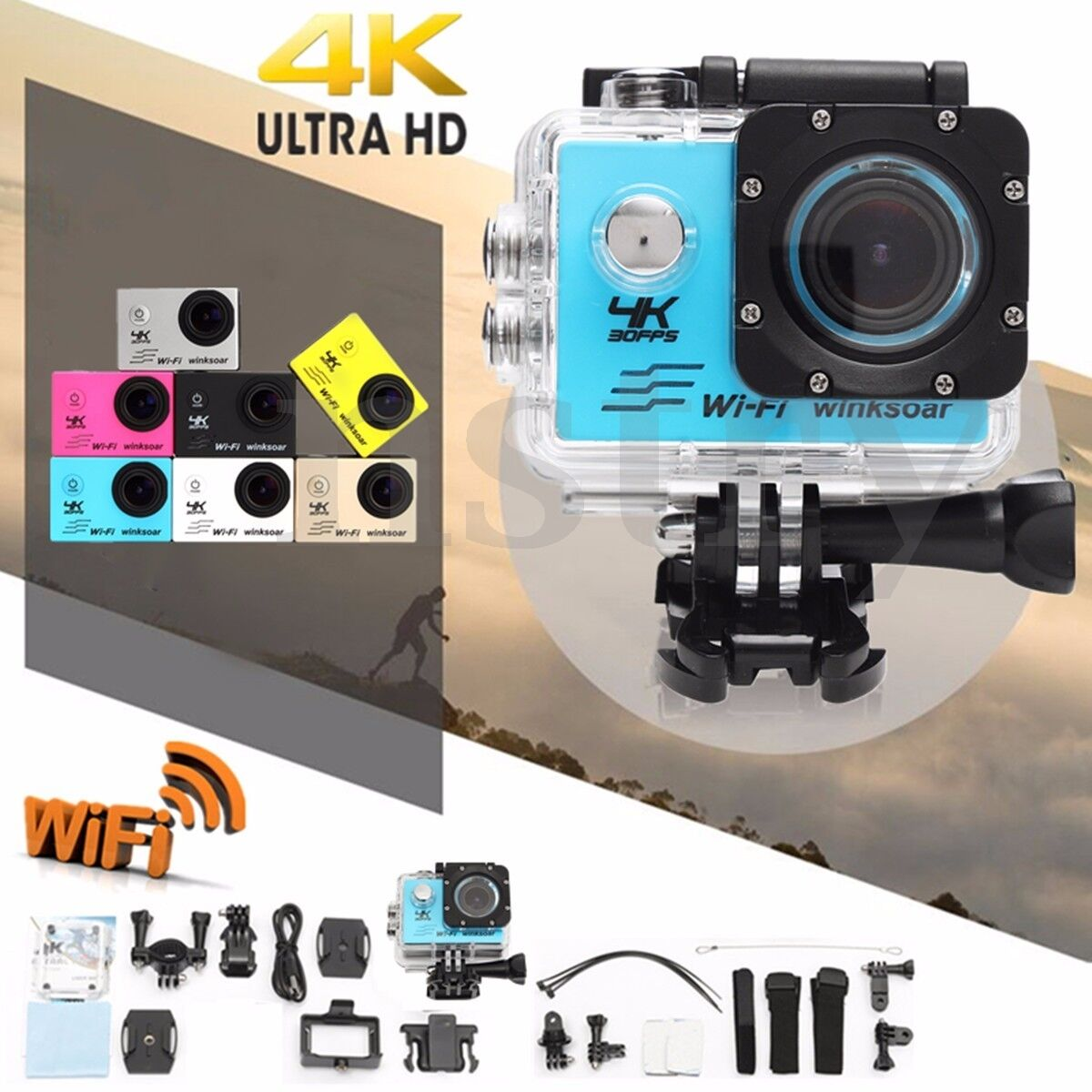Winksoar SJ9000 4K Ultra HD 120° WiFi 2.0 Sport Action DV Camera Cam Waterproof Featured