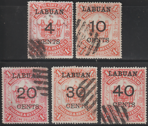 LABUAN-1895-SURCHARGED-SET-OF-5V-ISC-CTO-CAT-RM-500-AS-POSTALLY-USED