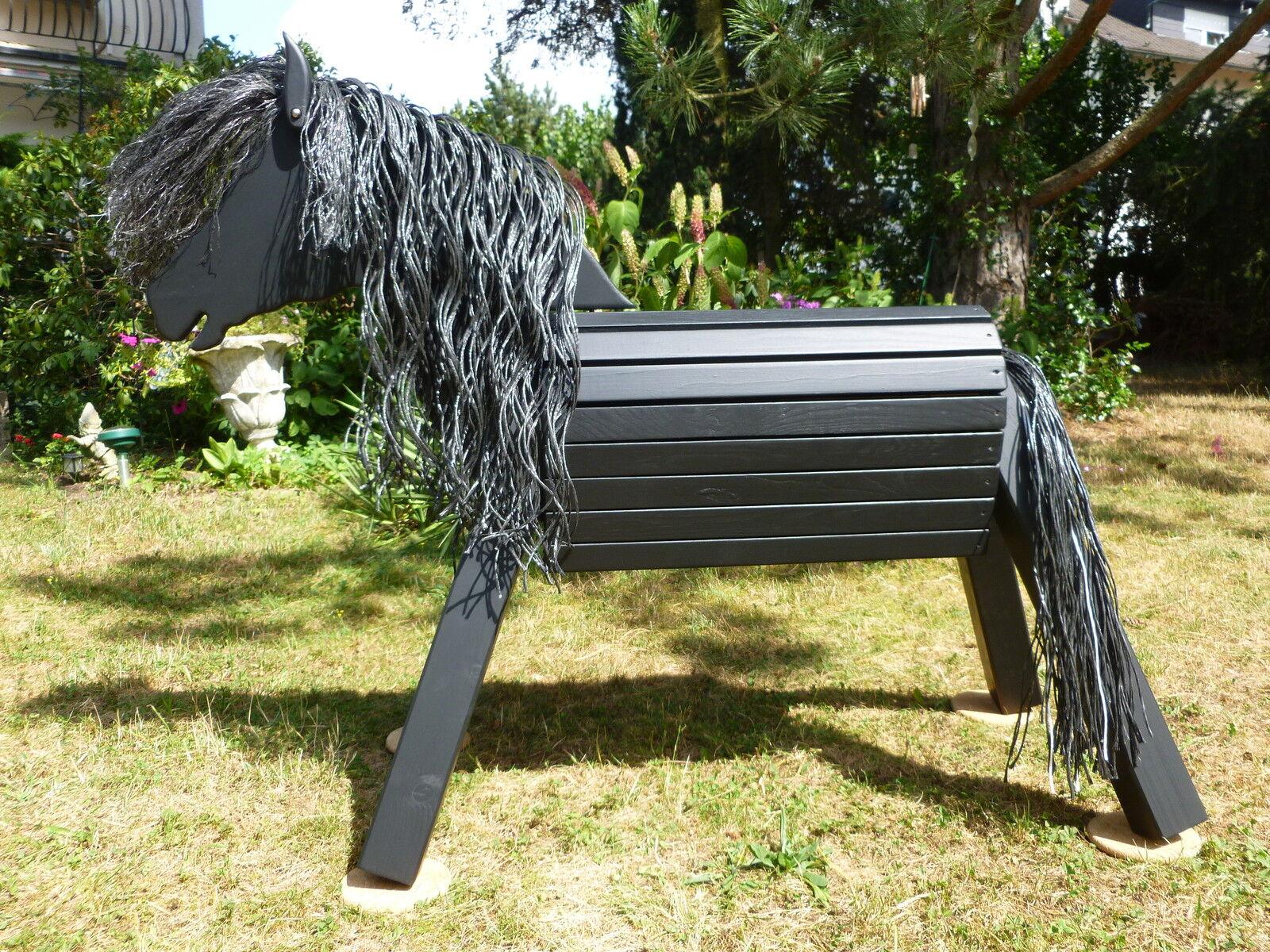 60cm Holzpferd Holzpony Voltigierpferd Pferd Spielpferd Rappe mit Maul NEU