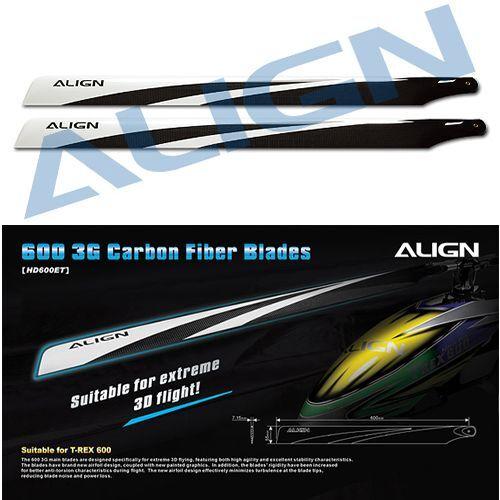 Align 600 3G  Flybarless Carbon Fiber Blades HD600E