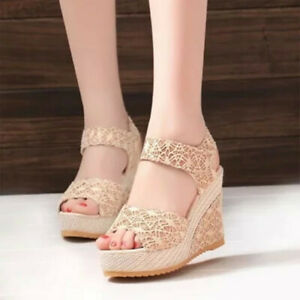 Womens-High-Wedge-Heels-Lace-Hollow-Out-Sandals-Buckle-Casual-Peep-Toe-Lady-Shoe