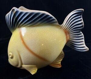 Vintage-50-039-s-60s-Ceramic-Yellow-Black-Tropical-Fish-Planter-Kitsch