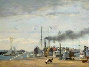 EUGENE-BOUDIN-FRENCH-JETTY-WHARF-TROUVILLE-OLD-ART-PAINTING-POSTER-BB5295B