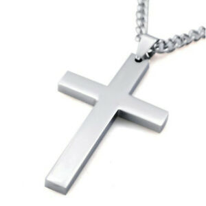 Jesus-Cross-Silver-Alloy-Plated-Men-Necklace-Stainless-Steel-Pendant-Link-Chain