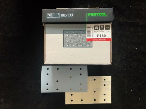 100 x Festool Garnet 497122 Sanding Paper Stf 80x133 mm P180