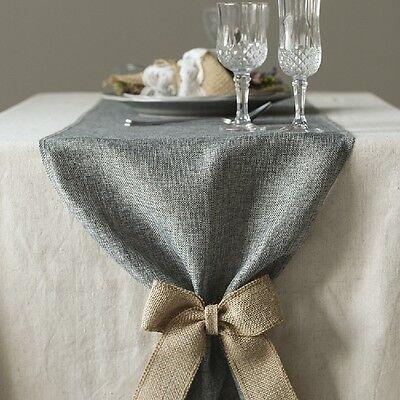 10M Vintage Wedding Party Linen Burlap Jute Table Runner Rustic Hessian Decor