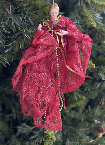 Vtg-Victorian-Christmas-Ornament-Angel-Red-Gold-Lace-Porcelain-Figure-Doll