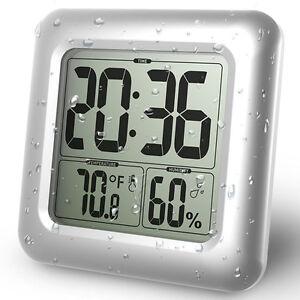 Das Bild Wird Geladen Digital Wasserdichte Badezimmer Wanduhr  Temperatur Feuchtigkeit Thermometer Uhr