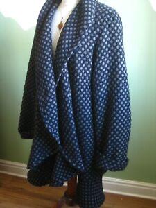 Ladies-WINDSMOOR-blue-wool-COAT-JACKET-cardi-UK-16-lagenlook-oversize-waterfall