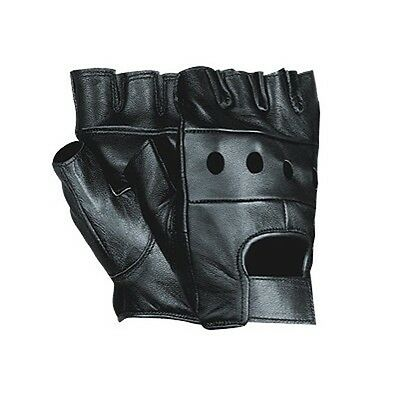 MENS LEATHER FINGERLESS DRIVING MOTORCYCLE BIKER GLOVES NEW ALL SIZES