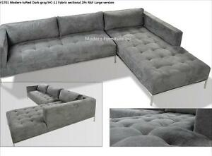 Details about 2PC Modern Dark Gray Fabric tufted Sectional Sofa #1701  (Large version)