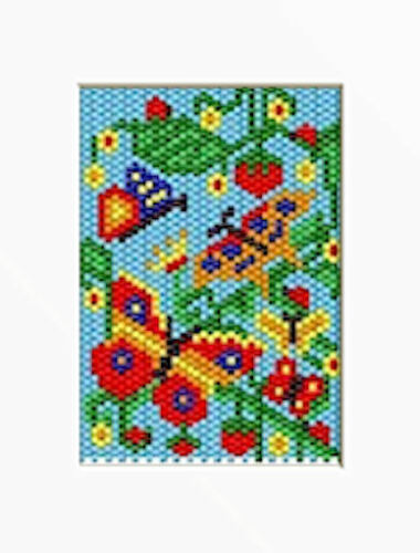 BUTTERFLIES IN THE STRAWBERRIES  PONY BEAD BANNER PDF PATTERN ONLY