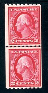 USAstamps-Unused-FVF-US-Washington-Line-Pair-Coil-Scott-411-OG-MNH-MLH