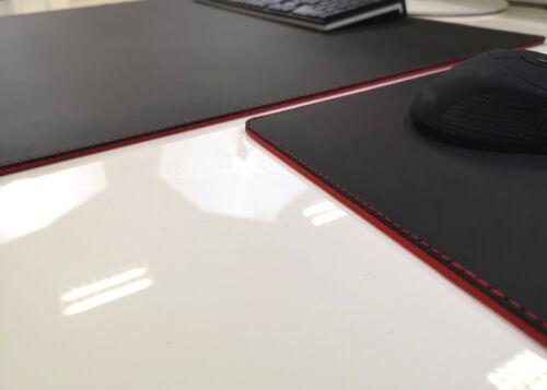 Mauspad Echt Leder Schwarz mit roten Absatz 90x50 Rindsl Schreibtischunterlage