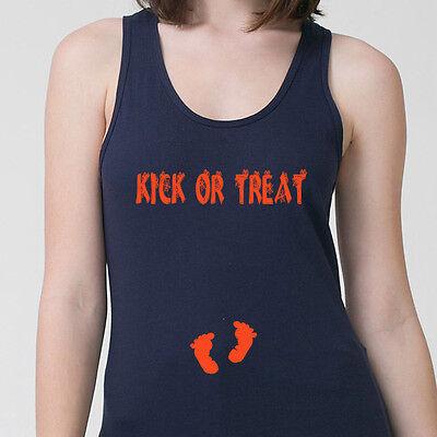 Kick Or Treat Halloween Pregnancy Baby Funny T-shirt Maternity Adult Tank Top