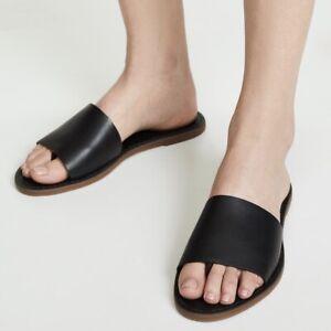 Women-s-Madewell-Boardwalk-Post-Slide-Sandals-Black-Leather-Sz-7