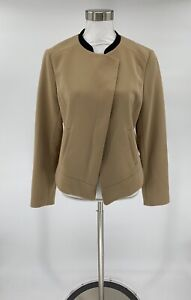 Ann-Taylor-Women-s-Blazer-Jacket-Tan-Size-10-Career-Black-Trim-Stretch-I8