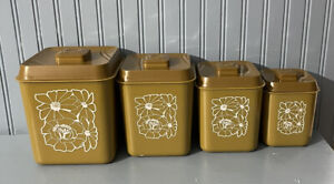 Mid Century Harvest Gold Four Piece Nesting Plastic Canister Set 1970's