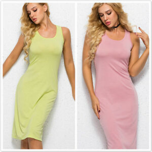 Womens Ladies Sleeveless Muscle Racer Back Strappy Vest Midi Long Dress 6A