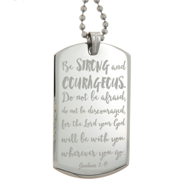 joshua 1 9 jesus christ bible engraved dog tag pendant necklace