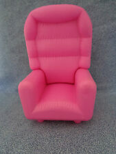 "Geoffrey, Inc Pink Dollhouse Furniture High Back Barbie Size Chair 6 1/4"" High"