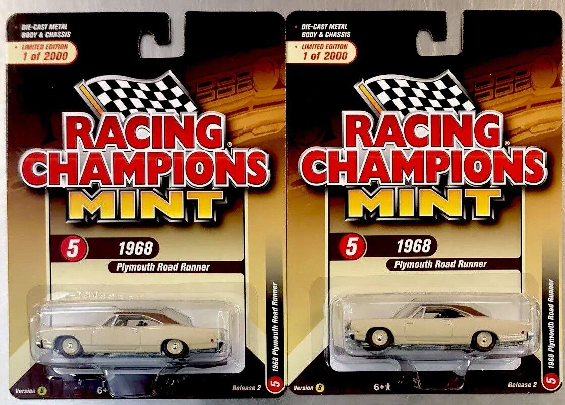 Racing Champions Comme  neuf 1968 Plymouth Road courirner version 2 Version B (lot de 2)  no.1 en ligne