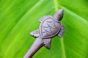 Carved LEAF wooden HAIR PICK STICK or SHAWL PIN Sono wood handmade new natural