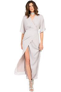 348623b0438 Standards   Practices Women s V-Neck Kimono Wrap Light Gray Maxi ...
