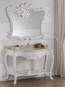 Détails sur Console meuble salle de bain avec miroir Eleonor style Shabby  Chic blanc vieilli
