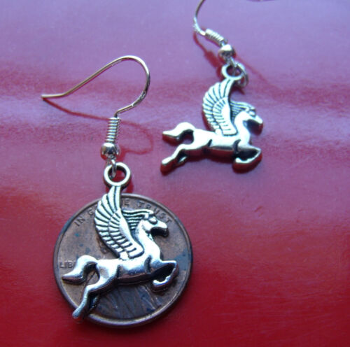 Silver Pegasus Horse Earrings on .925 Sterling Silver French Hooks