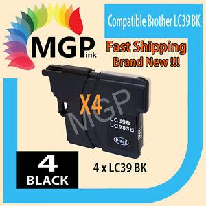 BLACK-ONLY-4x-GENERIC-INK-Cartridge-for-Brother-LC39-DCPJ125-J315W-J515W-J140W