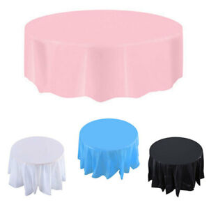 Image is loading Round-Plastic-Table-Cover-Cloth-Wipe-Clean-Waterproof-  sc 1 st  eBay & Round Plastic Table Cover Cloth Wipe Clean Waterproof Party ...