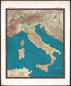 Carte Italie Et Sardaigne.1858 Rare Carte Lithographie L Italie Sardaigne Corse Ludwig Ewald
