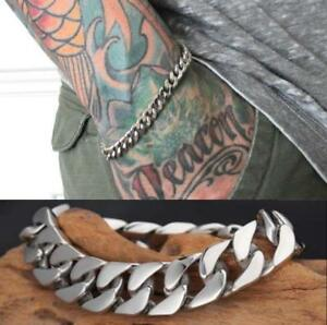 Men-039-s-Silver-Stainless-Steel-Link-Punk-Chain-Bracelet-Wristband-Bangle-Jewelry